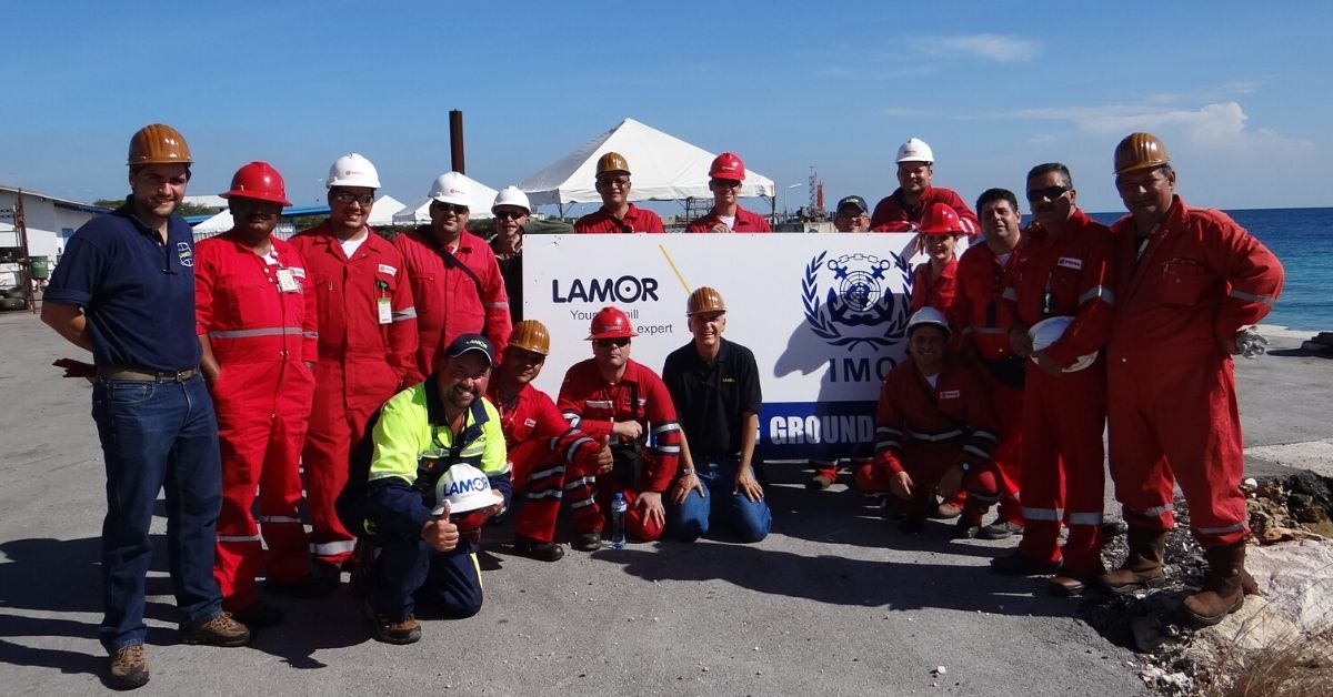 Happy people after a successful IMO training with Lamor