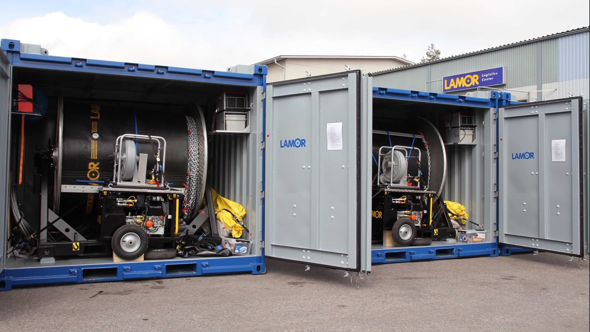 Lamor Equipment shipping for Emergencies in Containers